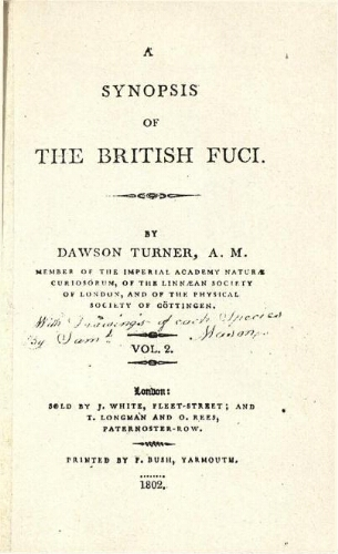 A synopsis of the British Fuci [...] Vol. 2
