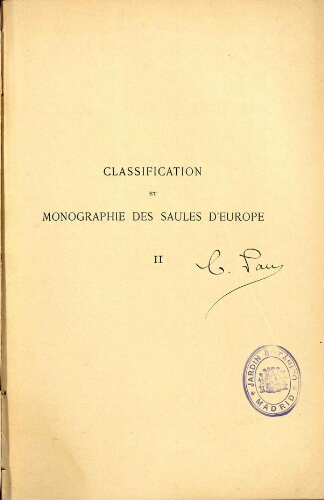 Classification des Saules d'Europe [...] II