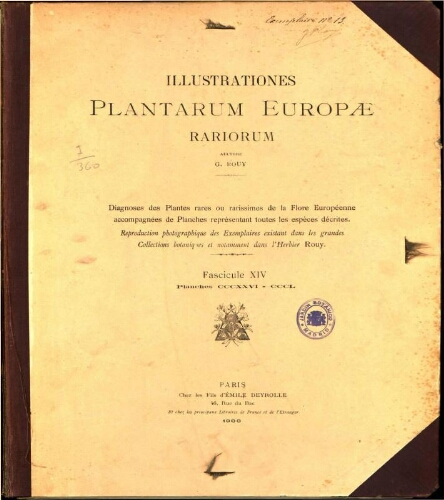 Illustrationes plantarum Europae rariorum. Fasc. 14