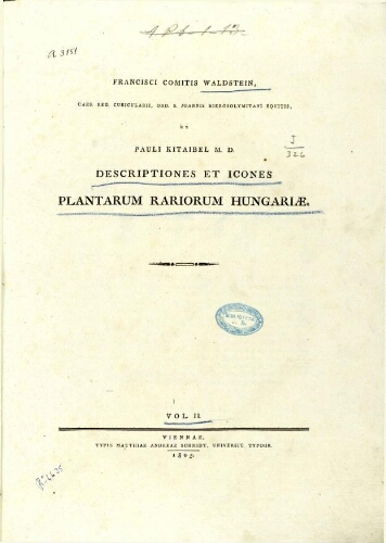Descriptiones et icones plantarum rariorum Hungariae. Vol. 2