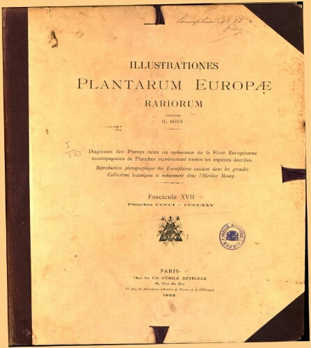 Illustrationes plantarum Europae rariorum. Fasc. 17
