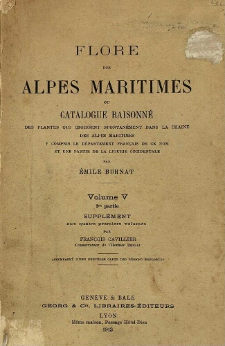 Flore des Alpes maritimes [...] Volume V. 1re partie