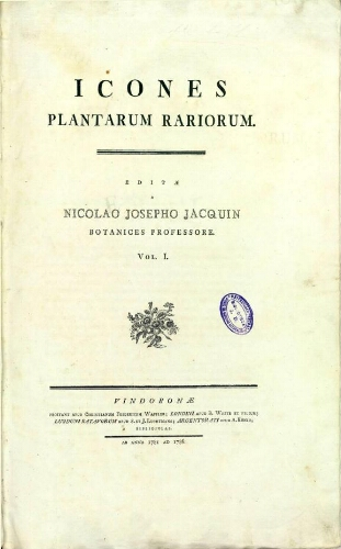 Icones plantarum rariorum [...] Vol. I