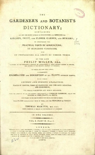 The gardener's and botanist's dictionary [9.ª ed.] [...] Vol. I. Part II. Cla-I.