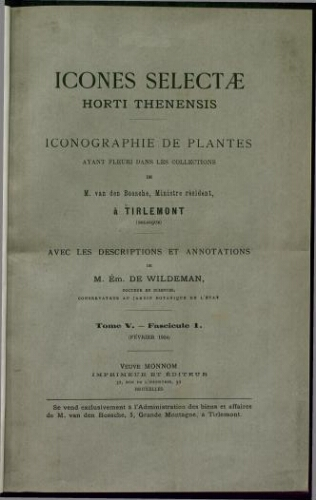 Icones selectae Horti Thenensis. T. 5