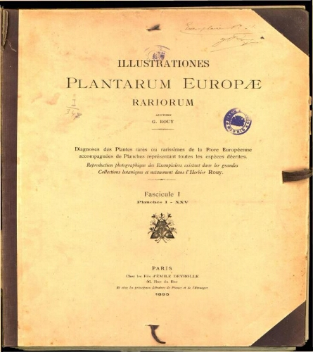 Illustrationes plantarum Europae rariorum. Fasc. 1