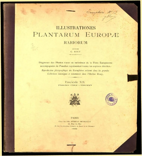 Illustrationes plantarum Europae rariorum. Fasc. 19