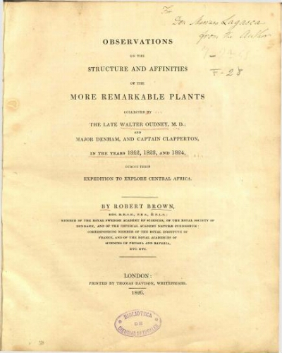 Observations on the structure and affinities of the more remarkable plants collected by the late Walter Oudney